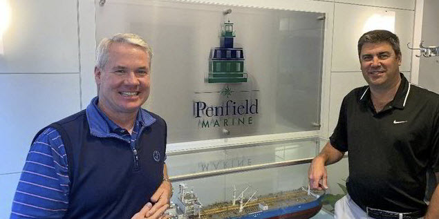 Penfield Marine partners Tim Brennan (left) and Eric Haughn have made a big step with booking of their first carbon-neutral voyage. Photo: Joe Brady